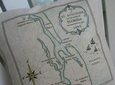 Large St Augustine Florida Vintage Map Pillow by AbundantHaven, $42.00