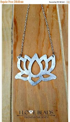 ON SALE lotus flower necklace=silver lotus flower necklace-flower necklaces-silver necklaces