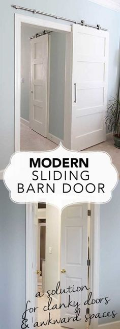 Modern Barn Doors: An easy solution to awkward entries Sliding barn door. Replace awkward entries and gain space in closets with sliding modern barn doors. Detailed instruction on how to install, what to buy and plans to build the door inexpensively. Home Upgrades, Home Renovation, Home Remodeling, The Doors, Wood Doors, Small Doors, Entry Doors, Front Doors, Patio Doors