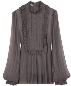 5d15bcc0bb68f7 By Malene Birger Grey Mahaut Blouse - ShopStyle Longsleeve