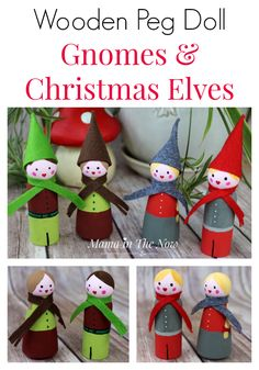 Adorable DIY Christmas elves and winter gnomes. Wooden peg dolls make great Christmas decorations and toys for busy toddlers.