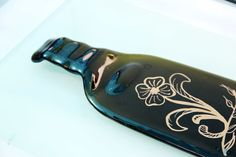 Fused Glass Melted recycled  wine Bottle  cheese by virtulyglass, $28.00