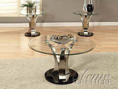 Platinum Coffee Table W / Glass Top 18410 By Acme furniture Coffee And End Tables, Small Coffee Table, End Table Sets, Glass Top Coffee Table, Glass Table, Double Recliner Loveseat, Couch And Loveseat, Acme Furniture, Accent Chairs For Living Room