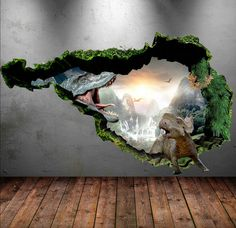 Wall Stickers Full Colour 3D Dinosaur T-Rex Wall door GlitterBlast