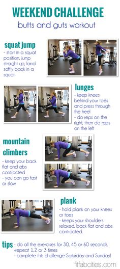 Weekend Challenge: The Butts and Guts Workout (already been doing this workout before until I came across it on here! It works great)