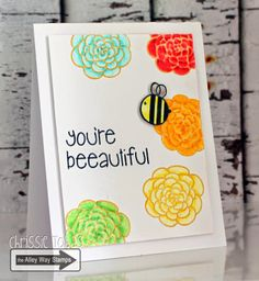 Chrissie Tobas: Harvest Moon Papiere: Beeautiful!, The Alley Way Stamps, TAWS, cards, clear stamps, Got It Covered, BEE Sweet, Petal Pushers