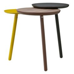TOO by Blu Dot Trois Accent Table - Yellow/Dark Gray/Walnut - I don't think it's very tall, but this would look awesome in the entry way. Coordinates well with the coffee table and couch. Playroom Furniture, Home Decor Furniture, Accent Furniture, Table Furniture, Furniture Design, Target End Tables, Strip Curtains, Counter Stools, Yellow