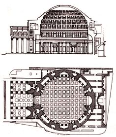 Pantheon in Rom Roman Architecture, Classic Architecture, Ancient Architecture, Architecture Design, Building Architecture, Architectural Section, Architectural Styles, Soul Artists, Industrial Design Sketch
