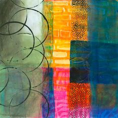 """collage journeys: """"Open"""" Acrylics on the Gel Plate and GIVEAWAY"""