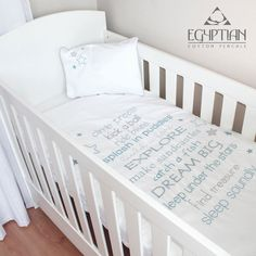 """The Dream Big Blue cot bedding set includes a cot duvet cover and cot pillow case. The cot set can be used both in a cot and cot bed (toddler bed).This designer 400 thread count Egyptian cotton """"Dream Big"""" baby duvet cover set is luxuriously."""