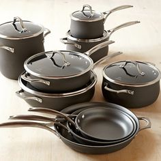 Calphalon Unison Nonstick Slide &; Sear 15-Piece Cookware Set #williamssonoma  I will never put these through a dishwasher again!