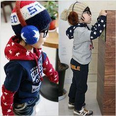 Free shipping One piece Children cool fashion star pattern boys girls kids sweatershirts hoodies 2014 KT012R $8.50 - 9.20