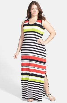 Vince Camuto Multi Stripe Maxi Dress (Plus Size) available at #Nordstrom