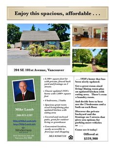 Just Listed! Real Estate for Sale: $339,900-4 Bd/2 Ba Spacious Two Story 1950s Nicely Updated Ellsworth Springs Home on Large .19 Acre Fenced Lot at: 204 SE 101st Ave, Vancouver, Clark County, WA! Area 23. Listing Broker: Mike Lamb (360) 921-1397, Windermere Stellar, Vancouver, WA! #realestate #justlisted #Vancouver #EllsworthSprings #EastHeights #FourBedroom #TwoStory #fencedlot #updated #largelot #MikeLamb #WindermereStellar