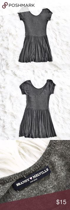 Brandy Melville scoop neck jersey dress Brandy Melville scoop neck jersey dress. Fitted bodice, full skirt. Excellent condition. One size fits all. Brandy Melville Dresses Mini