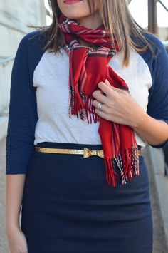 Casual pencil skirt: baseball tee, red plaid scarf, glitter bow belt