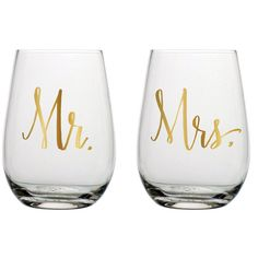 Our Gold Mr. & Mrs. Stemless Wine Glasses are the perfect gift for anyone about to be hitched or has been loving on the same person for years.  Plus they ma