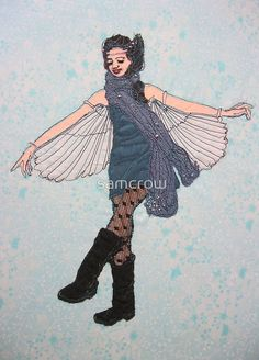 a blank greetings card with envelope - ' who says I can't fly - textile '