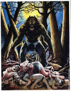 Werewolf by Budd Root Werewolf Vs Vampire, Werewolf Cat, Werewolf Hunter, Horror Comics, Horror Art, Creepy Horror, Scary, Caricatures, Fantasy Creatures