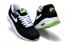promo code 1204a cbdc7 Nike 42ix Air Max 1 Herren Schwarz Weiß Fluorescent Grün Schuhe Air Max 1
