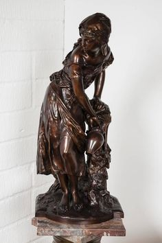 Bronze figure of a maiden filling a jug by a fountain by Mathurin Moreau by MATHURIN MOREAU at John Bly, in London, England. Iron Decor, Bronze Sculpture, Wood Art, Fountain, Most Beautiful, Sketches, London England, Antiques, Statues