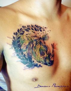 Watercolor Rhino tattoo