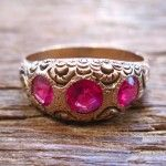 gold ring with pink glass, vintage