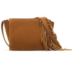 Zara Suede Messenger Bag With Fringes ($40) ❤ liked on Polyvore