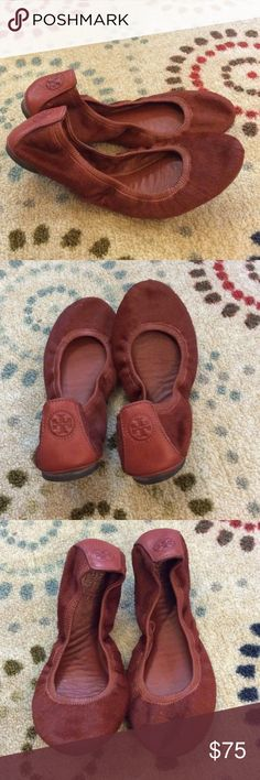 Tory Burch Calf Hair Flats Super cute Tory Burch flats in a brownish color. There are a few minor imperfections on the front and sides. The inside of the shoe is all leather. Tory Burch Shoes Flats & Loafers