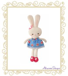 http://www.buttonbaby.com.au/alimrose-designs-betty-bunny-blue-floral-p-2166.html - Alimrose Designs Betty Bunny.  This sweet bunny rattle with pink shoes and a bow in her ear!  Approx 16cm.