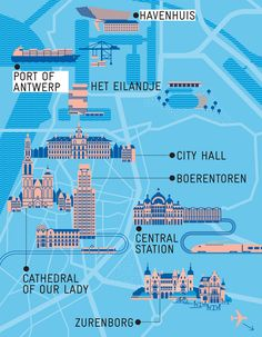 A city map of Antwerp and a map of the Flanders region of Belgium featuring icons of buildings and sights. Illustrated by Axel Pfaender for Monocle magazine Monocle Magazine, Antwerp Belgium, Europe, City Maps, Bruges, Our Lady, The Places Youll Go, Travel Guides, Places To Travel