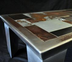 table basse metal design patchwork metallique marc bedikian creation