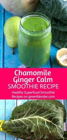 Chamomile Ginger Calm Smoothie on Green Blender
