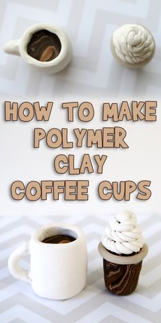 Today I'm going to show you How to Make Polymer Clay Coffee Cups! These so cute and you can change the colors to match any popular drink! Sculpey Clay, Polymer Clay Projects, Polymer Clay Charms, Polymer Clay Art, Diy Clay, Handmade Polymer Clay, Polymer Clay Jewelry, Clay Beads, How To Make Clay