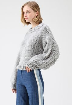 Chunky Chunky Puff Sleeves Cropped Sweater in Grey - Retro, Indie and Unique Fashion Preppy Style, Unique Fashion, Grey Fashion, Cropped Sweater, Platform Pumps, Fashion Brand, Puff Sleeves, Sweaters, How To Wear