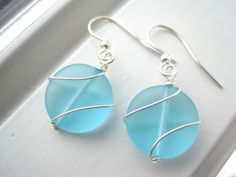 Aqua Blue Sea Glass Earrings Wire Wrapped by Sparkleandswirl