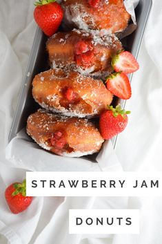 These Strawberry Jam Donuts are incredible! So fluffy and filled with the most delicious homemade strawberry jam. They are a weekend breakfast treat!