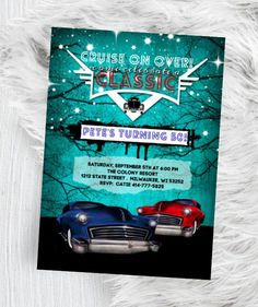 Lowrider Birthday Invitation, Hot Rod Adult Men Car Invite, Classic Car, Men's Invitation Printed or Printable Elegant Invitations, Invitation Design, Invite, Invitation Ideas, Lowrider, Printable Invitations, Baby Shower Invitations, Classic Photography, Graduation Party Invitations