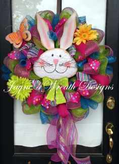 Spring/ Easter Bunny Wreath with daisies and butterfly