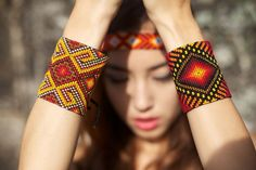 Extra large protection cuffs and headband by Ilumina. Each piece handcrafted by…