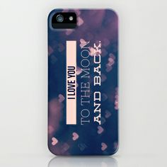 I Love You to the Moon and Back iPhone & iPod Case by Olivia Joy StClaire - $35.00 phone case, samsung galaxy case, quote, typography, modern, indigo blue, pink, hearts, love, romance, romantic, feminine, for her, case, phone case, tech