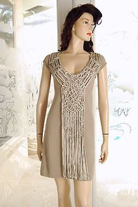 Fabulous Boston Proper Macrame Fringe Dress Size Small New | eBay