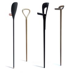 combining design, comfort and ergonomics, the series of walking sticks 'festival' by french designers antoine lesur and marc venot, are each given a personal identity. Wooden Walking Sticks, Walking Sticks And Canes, Walking Canes, Medical Design, Healthcare Design, Crutches, 3d Models, Deco, Hula