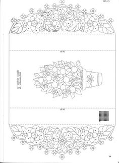 T T floral card and border Card Patterns, Hand Embroidery Patterns, Cross Stitch Patterns, Parchment Design, Parchment Cards, Colorful Drawings, Kirigami, Paper Cards, Hobbies And Crafts