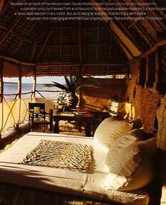 Bed by the beach.
