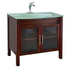 Bradford W Meuble-lavabo noyer de 40 po avec comptoir en verre trempé glacier