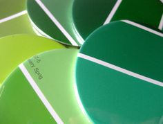 These fun coasters are just another great invention using leftover paint swatches and a great creedit to the crafter on Etsy! Green Home Decor // Coasters // Recycled Paint by MeowKapowShop, $18.00