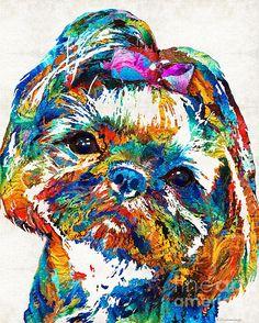 Colorful Shih Tzu Dog Art - painting by Sharon Cummings fineartamerica.com #dogart #shihtzu #petportrait