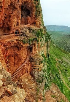 Arbel Fortress Cliff ❞ at Arbel, Hazafon, Israel  photo by Adi Faran  The Arbel Cliff, visible to a great distance, provides a magnificent panoramic view of the Sea of Galilee, the Golan and Mount Hermon. This great cliff, one of the most impressive sites in Israel, climbs to a height of almost 400 meters. In the caves found in the cliff lived people as early as prehistoric times and later on soldiers gathered in them during the fight against King Herod.