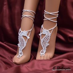 Barefoot Sandals Pattern SEAHORSE by LassCrochet on Etsy. Not free.